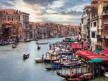 Grand canal in venice from the rialto bridge with gondolas