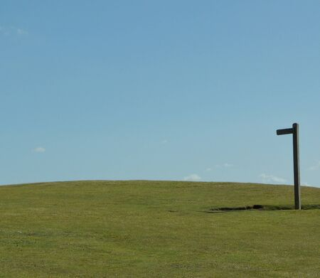 Signpost against Blue Sky on the South Downs Way photo