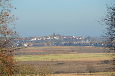 sussex: View of Rye, East Sussex UK across fields from the West