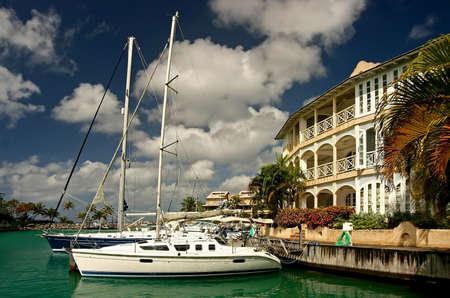 barbados: boats in a marina in Barbados Stock Photo