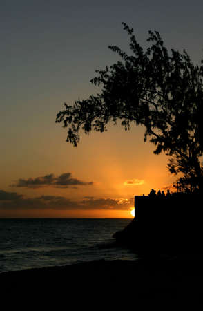 a beautiful sunset in barbados photo