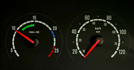 rev: a speedometer and rev counter Stock Photo