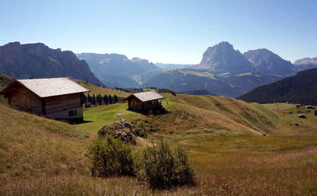 Beautiful views of Mastle Alm  Val Gardena to the Sella Group and Sassolungo Group