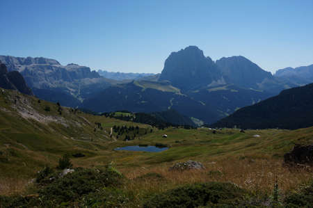 Breathtaking panoramic views of Mastle Alm and Sassolungo group and Sella  Val Gardena  South Tyrol Stock Photo