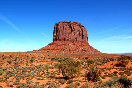 Beautiful day in the Monument Valley: Merrick Butte under a clear blue sky / Arizona / USA