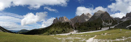 Mountain landscape: Beautiful dolomite mountains in the Gardena Valley / Groeden / South Tyrol