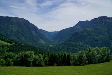 Beautiful green valley with mountains