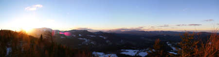 Sunset in the mountains: Beautiful view from vista Point Kleine Kanzel at Hohe Wand Mountain in Lower Austria / Schneeberg / Rax