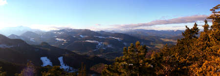 Wonderful winter panoramic view: Beautiful view from vista Point Kleine Kanzel at Hohe Wand Mountain in Lower Austria Stock fotó