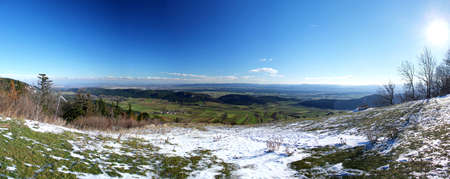 Beautiful view from vista point Almfrieden at Hohe Wand Mountain in Lower Austria
