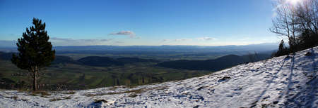 Winter panoramic view at Vista Point Almfrieden at Hohe Wand Mountain in Lower Austria / Active Lifestyle Concept / Wintertourism / Hiking / Paragliding