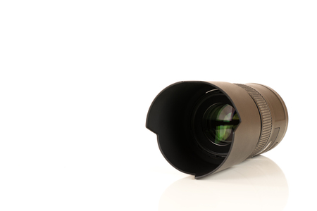 large-format lens of a camera close up