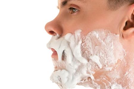 person caucasian men shaving foam side view closeup