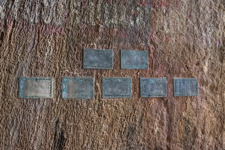 Ancient tablets in colored multicolored paint ground