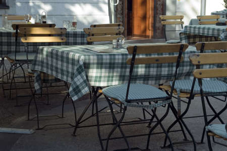 central europe: Table and chair in open air restaurant in Slovenia, Central Europe