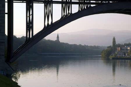 River Drava and city of Maribor, Slovenia photo