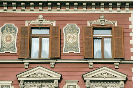 central european: Very old and ornamental central European windows Stock Photo