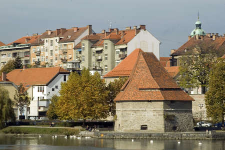 Old and new buildings in city of Maribor, Slovenia photo