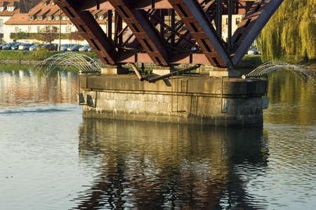 drava: Part of the metallic bridge structure, river Drava