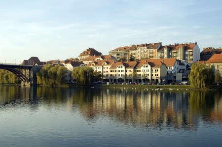 City of Maribor, Slovenia, on the Drava river photo