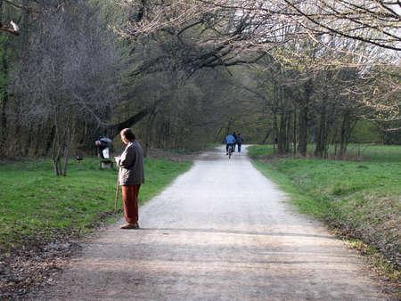 Springtime easy walk in the public park