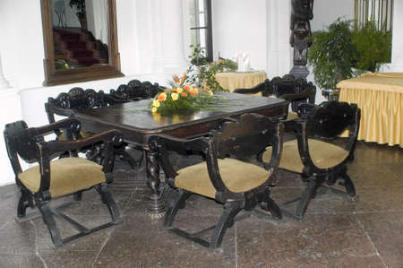 mediaval: Old wooden table and chairs in the mediaval castle