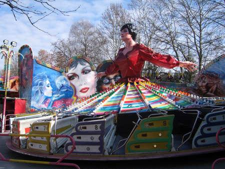 theme park: Empty merry-go-round in funny theme park