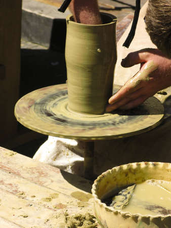 detai: Open pottery workshop - hand made clay pot Stock Photo