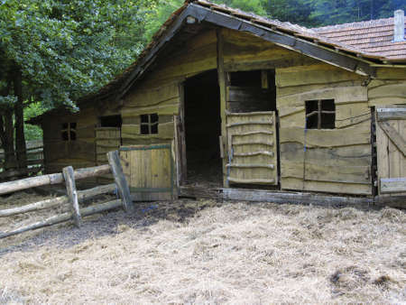 central europe: Classic wooden pigsty in central Europe - smell like pig! Stock Photo