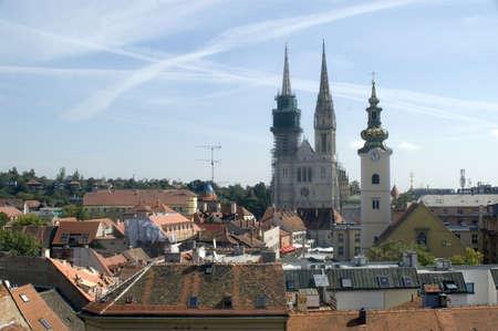 stephen: Cattedrale di S. Stefano e la citt� di Zagabria - Croazia Archivio Fotografico