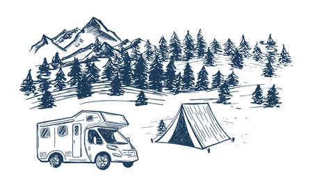 Camping in nature, motor home, Mountain landscape, hand drawn style, vector illustrations.