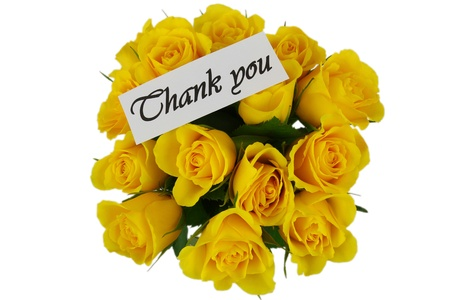 Thank you note and yellow roses bouquet isolated on white photo