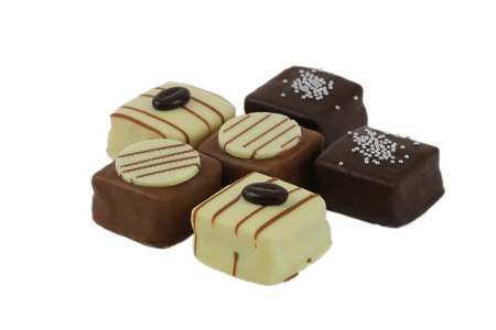 marzipan: Marzipan petit fours variety isolated on white