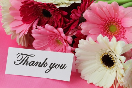 thanking: Thank you note and colorful gerbera daisies