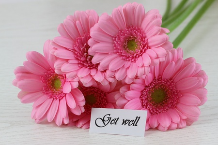 ink well: Get well note and pink gerbera daisies