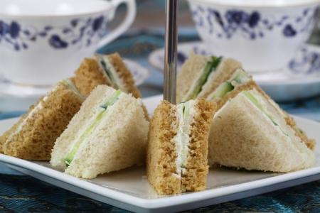 English cream cheese and cucumber sandwiches Stock Photo