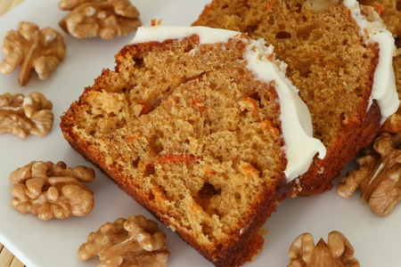 Carrot and walnut cake with marzipan icing photo