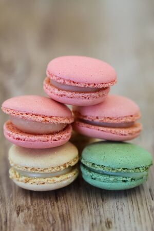 Colorful macaroons with copy space photo