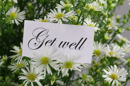 get well: Get well card with fresh chamomile flowers Stock Photo