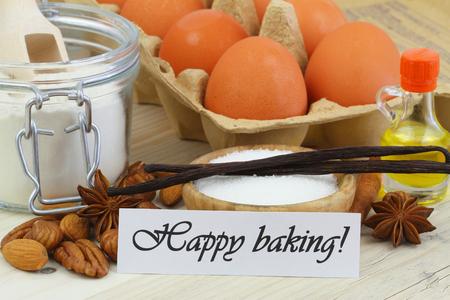 baking ingredients: Happy baking card with baking ingredients Stock Photo