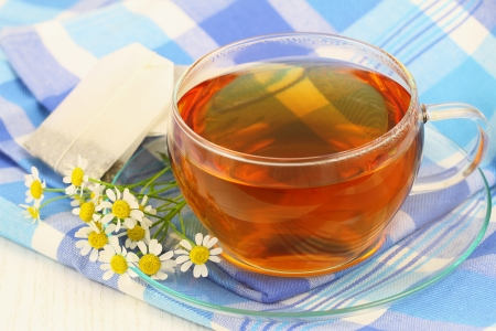 Tea with fresh chamomile flowers photo