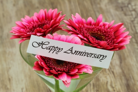 Happy Anniversary card with pink gerbera daisies in martini glass Stock Photo