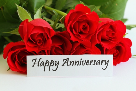 anniversary card: Happy Anniversary card with red roses Stock Photo