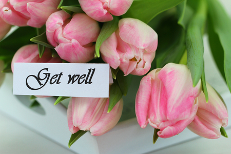 get well: Get well card with pink tulips