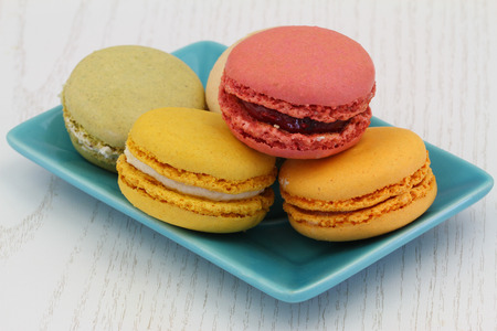 Colorful macaroons, close up photo
