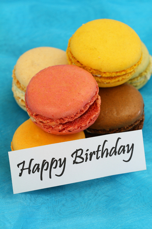 Happy birthday card with colorful macaroons photo
