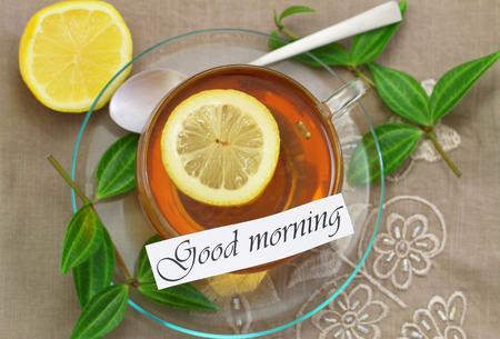 good morning: Good morning card with lemon tea
