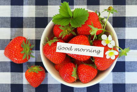 Good morning card with bowl of fresh strawberries photo