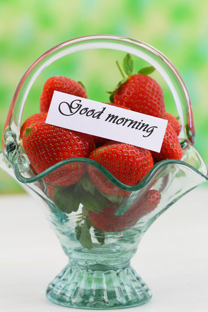 Good morning card with strawberries in vintage glass basket photo
