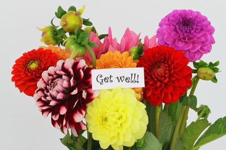 get well: Get well card with colorful dahlias
